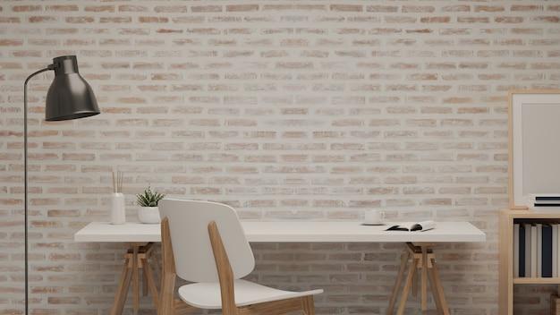 3d-rendering, leseecke mit tisch, stuhl und dekorationen im home-office-raum, 3d-illustration