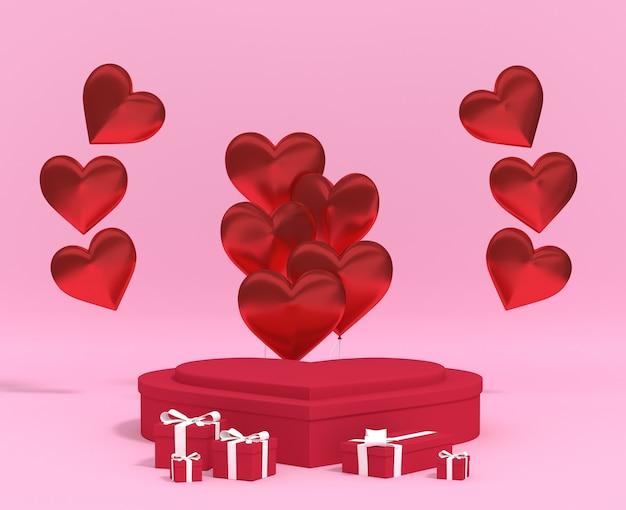 3d-rendering-liebespodest mit ballon, geschenkbox, rosa hintergrund. premium-foto