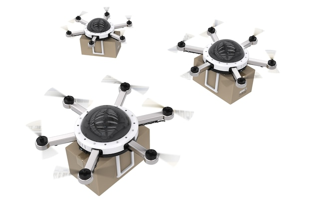 3d-rendering-lieferdrohne fliegt mit karton