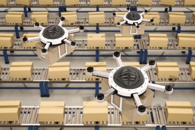 3d-rendering-lieferdrohne im lager