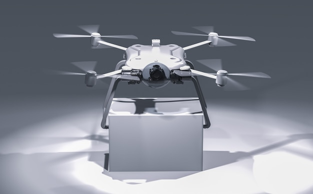3d-rendering-lieferdrohne mit weißer box