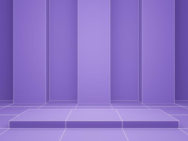 3d-rendering. lila geometrischer gitterproduktständer.