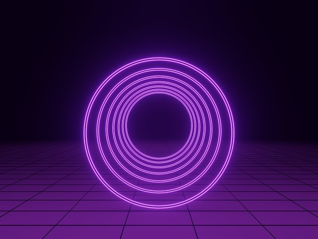 3d-rendering. lila lichttunnel