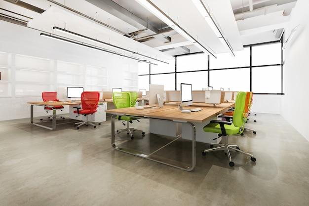 3d-rendering loft-geschäftstreffen und arbeitsraum im bürogebäude