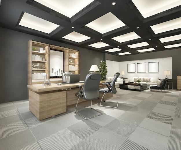 3d-rendering luxus-business-meeting- und arbeitsraum im executive office