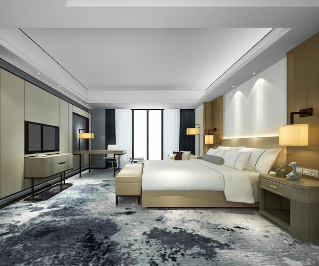 3d-rendering luxus moderne schlafzimmer suite im hotel