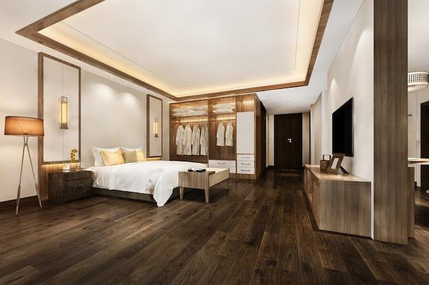 3d-rendering luxus moderne schlafzimmersuite im hotel mit kleiderschrank und begehbarem kleiderschrank