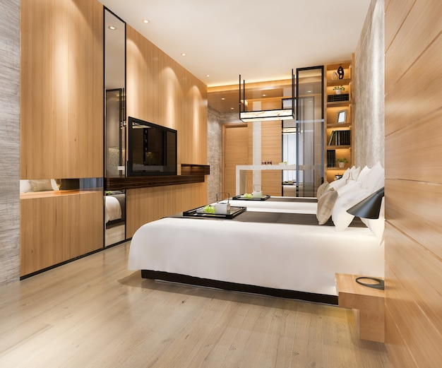 3d-rendering-luxus-schlafzimmer-suite im resorthotel mit zwei einzelbetten