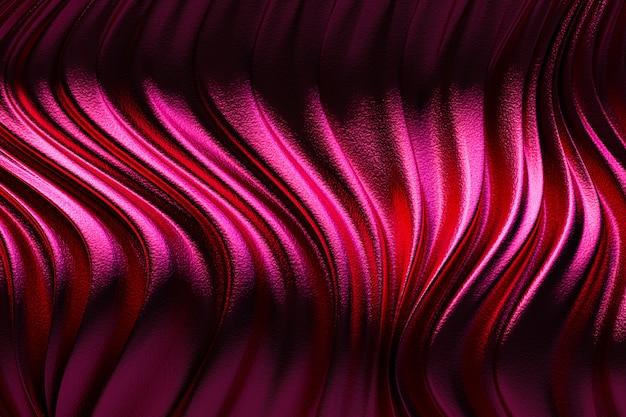 3d-rendering, luxus-stoff des abstrakten roten hintergrunds oder der flüssigkeitswelle oder der wellenfalten der schmutzseidenstruktur