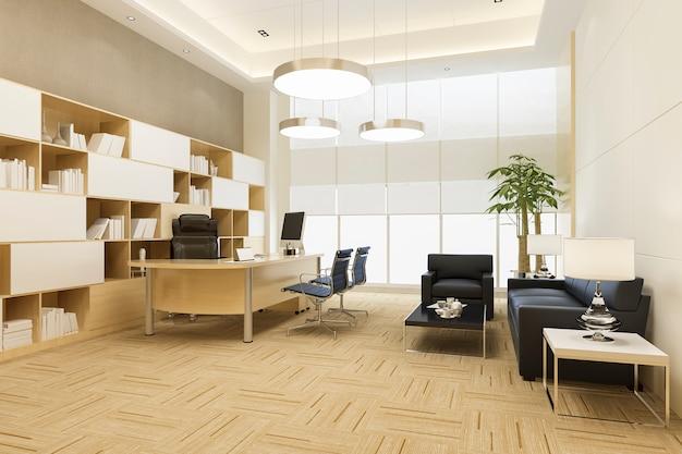 3d-rendering-luxusgeschäftstreffen und arbeitsraum im exekutivbüro