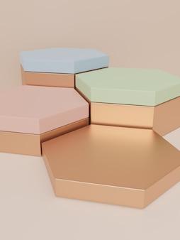 3d-rendering-luxusprodukt-display-hintergrund für beauty health care skincare oder honigprodukte