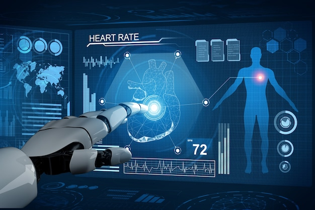 3d-rendering medizinischer roboter mit künstlicher intelligenz