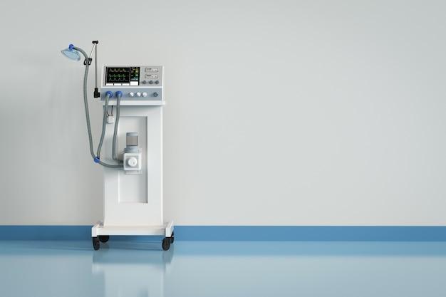 3d-rendering medizinisches beatmungsgerät im krankenhaus