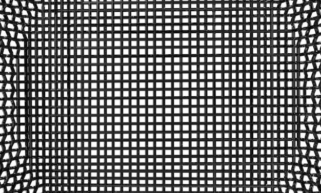3d-rendering. metall konkave schwarze masche mit beschneidungspfad lokalisiert auf weißem wandhintergrund.