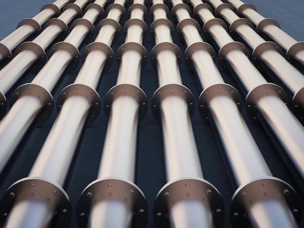 3d-rendering metallrohrleitung mit flanschverbindung