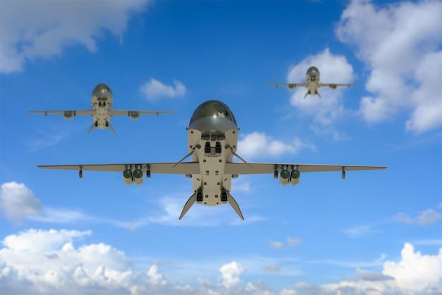 3d-rendering militärdrohnen fliegen in den himmel