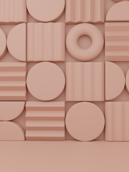 3d-rendering minimal abstract jigsaw oder puzzle blocks product display background für beauty health