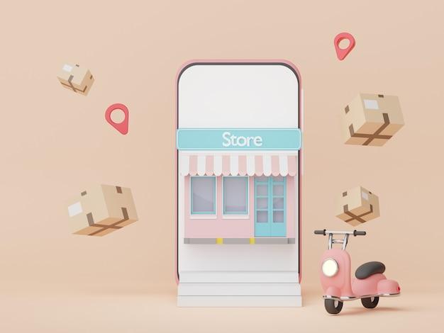 3d-rendering minimale smartphone- und scooter-paketzustellung mit online-shopping-konzept