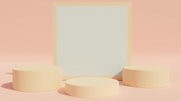 3d-rendering. minimale szenenanzeige mit geometrischen formen oder podiumanzeige