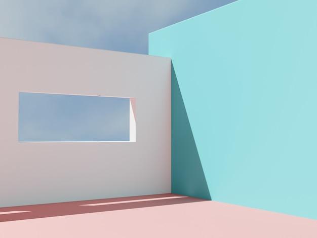 3d-rendering minimaler architektonischer produkt-display-hintergrund mit hohem kontrast und lebendigen farben mediterraner türkis-rosa- und weißboden und wand mit fensterhimmel-hintergrund