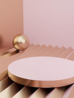3d-rendering minimaler geometrischer produktanzeigehintergrund mit plattform-rosa-weiß und gold