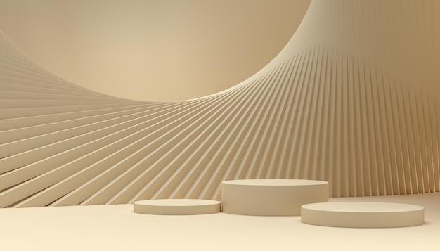 3d-rendering minimaler hintergrund, leerer raum mit podium für produktpräsentation