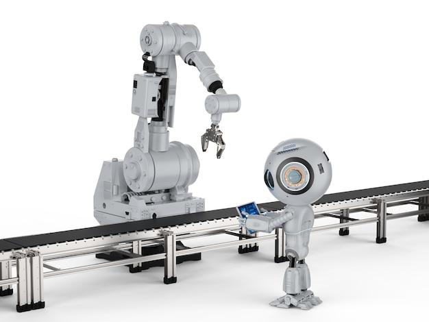 3d-rendering miniroboter mit roboterarm auf weißem hintergrund
