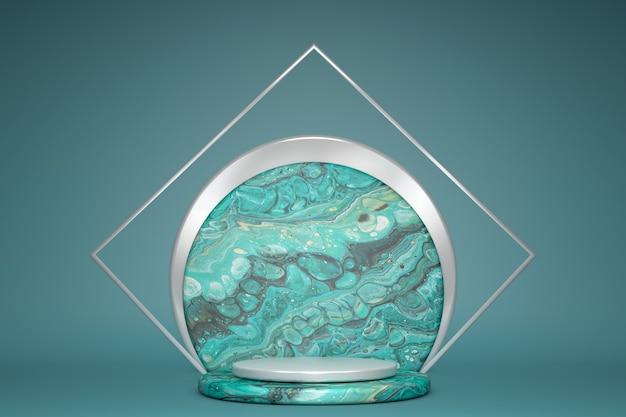 3d-rendering mit leerem grünem podium und marmorstruktur, minimalem geometrischem sockel. bühne für produkt in leerem pastellhintergrund