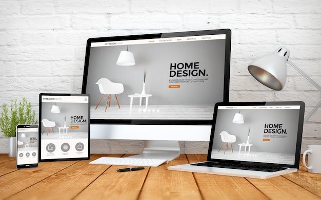 3d-rendering mit mehreren geräten mit innenarchitektur-website