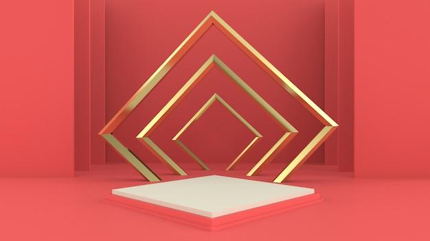 3d-rendering mit podium zur produktpräsentation