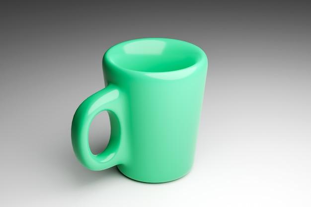 3d-rendering. mittelgroße tasse mit grünem tee und kaffee auf grau isoliert. darstellung eines thermobechers