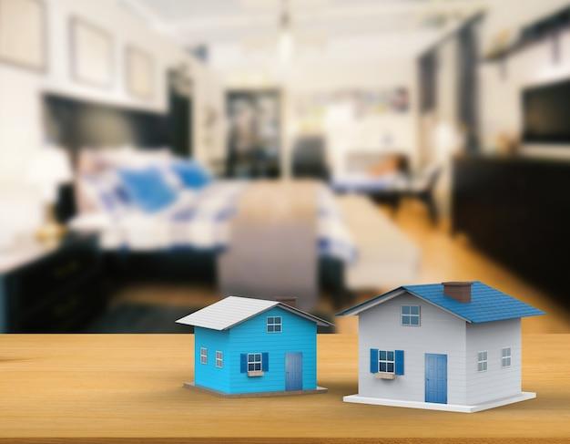 3d-rendering-mock-up-haus mit innenhintergrund