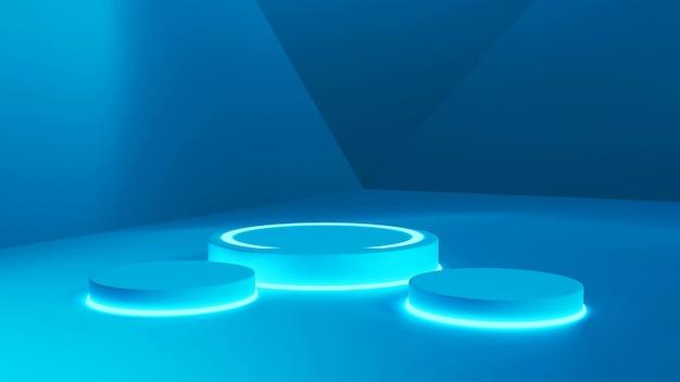 3d-rendering-modell, blau fluoreszierende abstrakte rendering-stufen-renderings