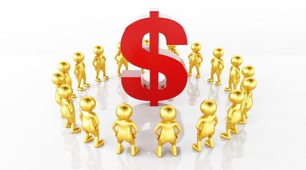 3d-rendering-modell, das die währung umgibt