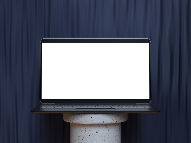 3d-rendering-modell der laptop-anzeige des leeren bildschirms