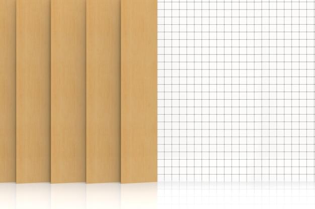 3d-rendering. moderne hellbraune holzplatte, die auf weißem kleinem quadratischem keramikfliesenwandhintergrund verziert.