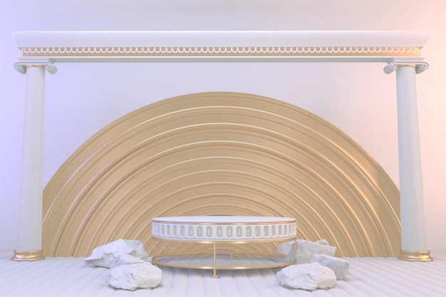 3d-rendering. moderne minimalistische modellgold-podium-abstrakte zylinderanzeige.