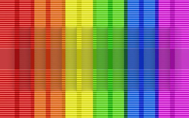 3d-rendering. moderner lgbt regenbogenfarbflaggenwand-designhintergrund.