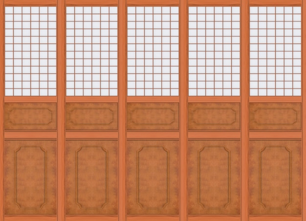 3d-rendering. moderner luxuriöser klassischer brauner holzwandhintergrund des klassischen orientalischen musters.