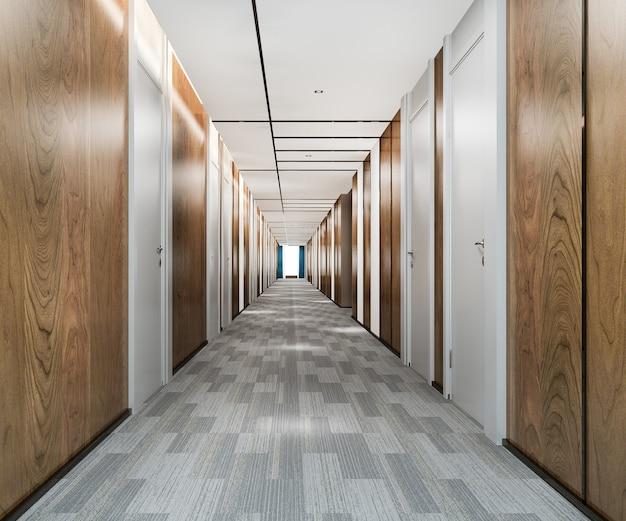 3d-rendering moderner luxus holz und fliesen hotelflur