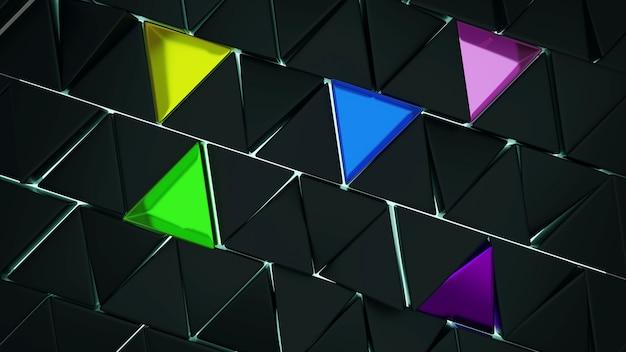 3d-rendering modernes grünes, gelbes, blaues und dreieckiges muster auf dunklem hintergrund