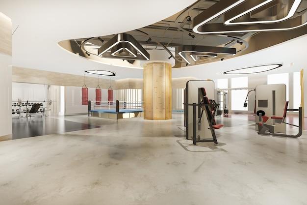 3d-rendering modernes loft-fitnessstudio und fitness
