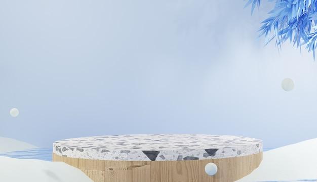 3d-rendering modernes minimalistisches weißes terrazzo-stufenpodium und blätter, umgeben von schneewinterthema
