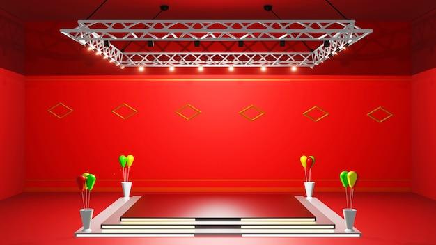 3d-rendering-moke, bühne für visualisierung, symptomatischer text, abstraktes rot