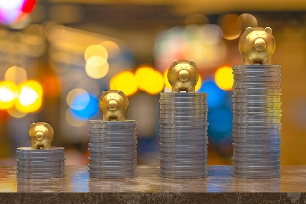 3d-rendering, münze mit einem schweinchen gold, ersparnis aufwachsen für geschäfts- und finanzkonzeptidee