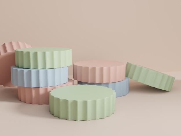 3d-rendering multi color studio shot product display hintergrund mit stapeln von plattformblöcken