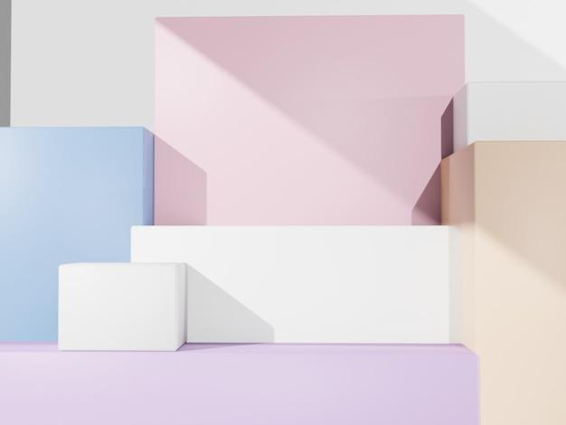 3d-rendering multi pastellfarben minimaler geometrischer produktanzeigehintergrund mit plattform