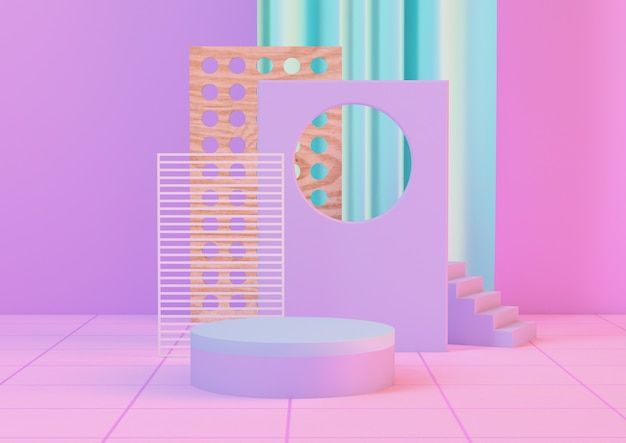 3d-rendering neon clean produkt sockel plattform in rosa neon und blau farben