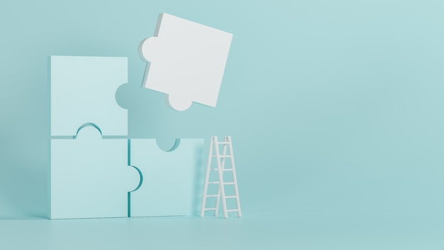3d-rendering neuer luxushintergrund, blaues und weißes puzzle, 3d-illustration