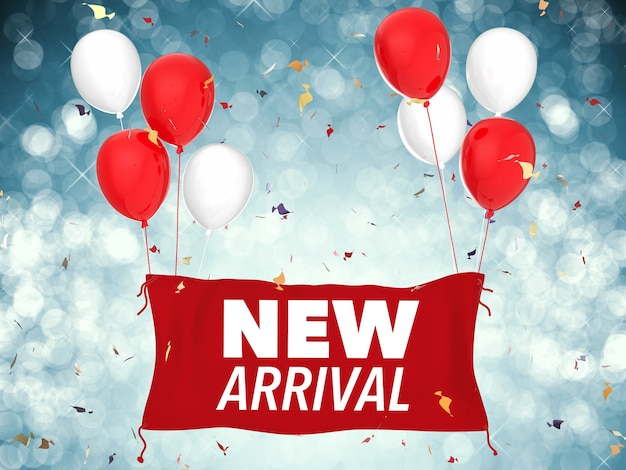 3d-rendering neues ankunftskonzept mit rotem stoffbanner, roten luftballons und konfetti